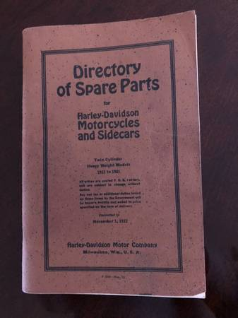 Photo Harley Davidson motorcycle parts book - $30 (Marion)