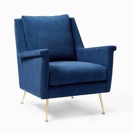Photo Brand New West Elm Carlo Mid Century Modern Side Chair Blue Sapphire - $380 (Amberley village)