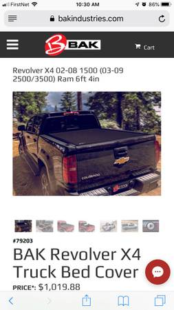 Photo Dodge Ram 64 BAK Revolver X4 Truck Bed Cover tonneau 1500 2500 3500 2003 - $400 (Liberty Township)