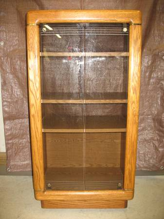 Photo Entertainment Center  TV Stand  Bookcase  Oak with Glass Doors - $30 (Sardinia , Brown County Ohio)