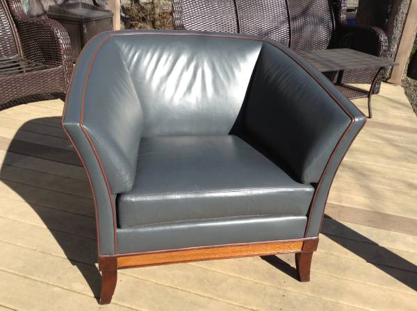 Photo Hickory Business Furniture Gray Leather Charlotte Lounge Chair - $295 (Crittenden)