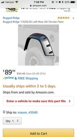 Photo Jeep Wrangler TJ Driver Side Fender Flare - $30 (Mason)