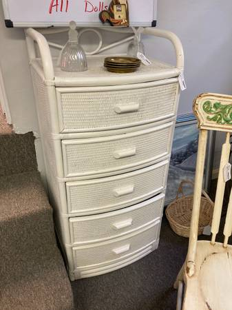 Photo Narrow White Wicker Dresser Chest Of Drawers - $120 (West Chester)