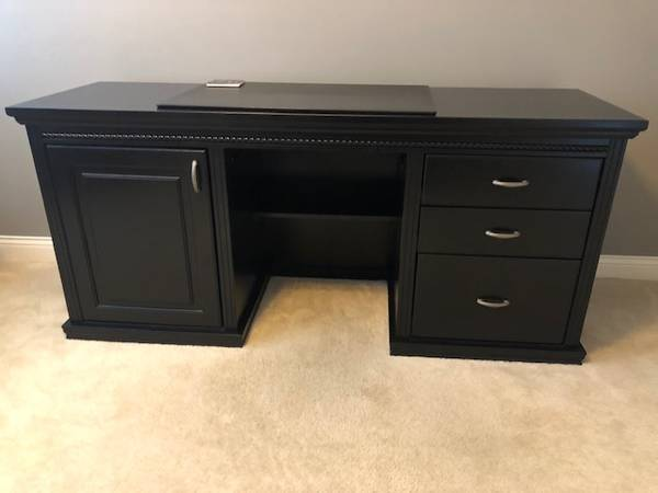 Photo Solid Wood Black Desk - $600 (Liberty Township)
