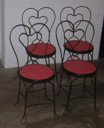 Photo Vintage Cafe Bistro Ice Cream Parlor Sweetheart chairs with Hart Twist - $70 (Delhi Bridgetown)
