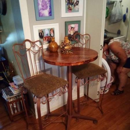 Photo Fully Restored Antique Cafe Bar Stools  Custom Barn Wood Table. - $180 (Woodlawn)