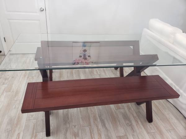 Photo Pier 1 Glass Top Table and 2 Trestle Benches - $350 (Clarksville)
