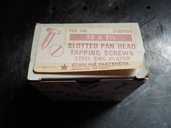 Photo 12 x 1-12quot Slotted Pan Head Tapping Screws Steel Zinc Plated 90 pcs N - $1 (Lorain)