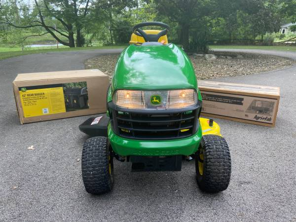 Photo 13hr John Deere Tractor WNIB Bagging System and Yard Trailer - $1,875
