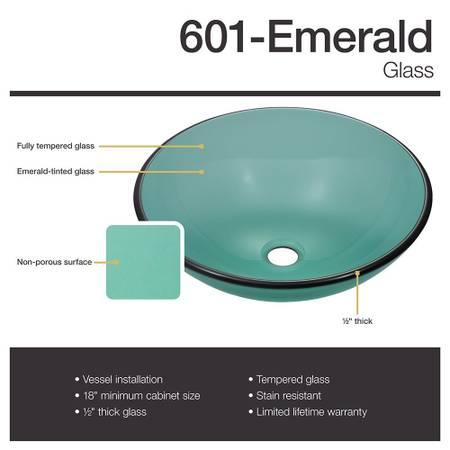 Photo Emerald Glass Bathroom Vessel Sink - $100 (Brecksville)