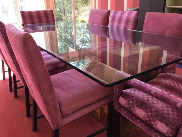 Photo High-End Glass Dining Table  Chairs Pre-Estate Sale Prominent Family - $4,500 (Aurora)