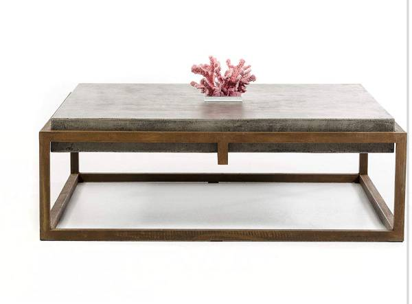 Photo VIG Modrest Modern Square Natural Concrete Coffee Table  Rusty Steel Frame - $350