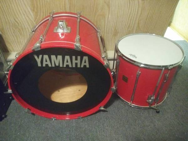 Photo Yamaha rock tour custom RTC drums 18x24 kick 18x16 floor tom hot red - $250 (Middleburg heights)
