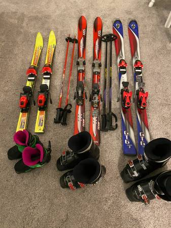 Photo Youth Skis, Poles, and Boots - K2, Axis, Salomon, Marker, Look - $80 (Amherst, OH)