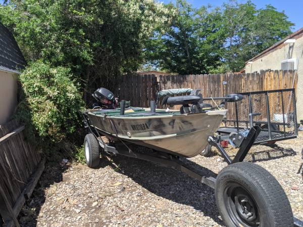 Photo 14 ft seacrest with 2019 4 stroke 15 HP outboard $2500. - $2,500 (Albuquerque)