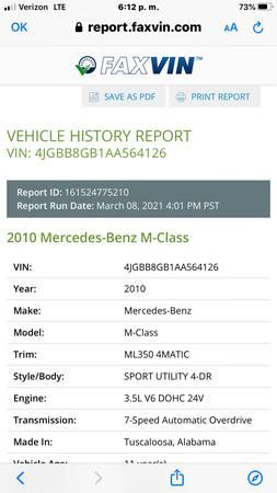 Photo 2010 Mercedes Bens M Class - $9,900 (Odessa tx)