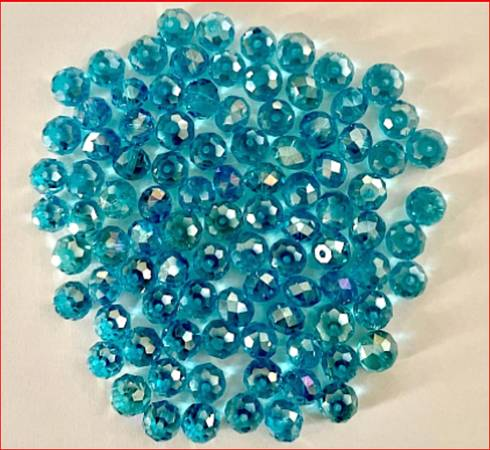 Photo BEADS AQUA BLUE MEDIUM AB GLASS 95 8mm X 6mm ROUND OVAL JEWELRY CRAFT - $7 (RIO RANCHO)