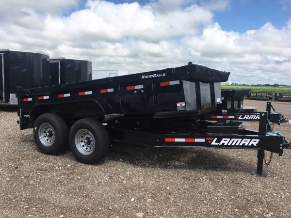 Photo New LAMAR 83X12 Heavy Duty Dump Trailer - 7K Axles - 8quot Frame - Loaded - $8,391 (Lubbock)