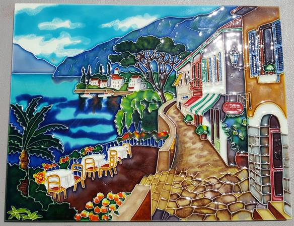 Photo Large tile with European town ocean view, wall hanging - $175 (NW Cy Fair)