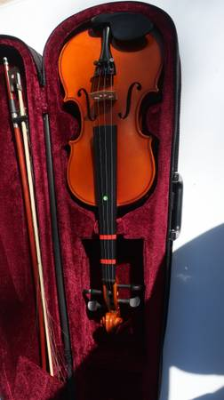 Photo Mendini Solid Wood Violin with Hard Case - $35 (College Station)