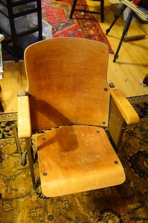 Photo Antiques Wooden Theater Chair From Prosperity High School, Circa 1930 - $50 (PROSPERITY)