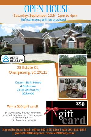 Photo OPEN HOUSE - Saturday, Sept. 12th 1pm to 4pm (Win $50 gift card) (Orangeburg)