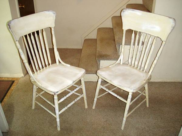 Photo 2 Distressed Antique White Solid Wood Chairs - $20 (North Cols.)