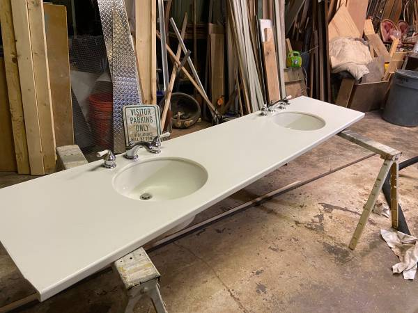 Photo Corian double sink bathroom counter 97x 21 with under mountsfaucets - $150