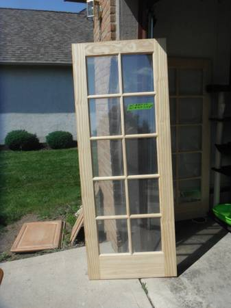 Photo French Unfinished Pine Solid Core Wood 10-Lite Interior Door Slab - $55 (Grove city)