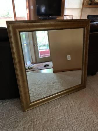 Photo Large Square decorative beveled glass wall mirror - $45