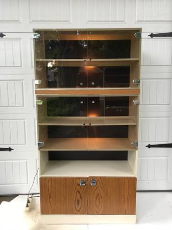 Photo Mid Century Modern Bookcase Wall Unit Shelf Smoke Glass Doors Cabinet - $125 (Mount Vernon)