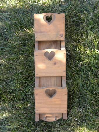 Photo Vintage 1980s Wood Wall Hanging with 3 Mail Slots, Key Pegs  Hearts - $30 (Northeast Columbus)