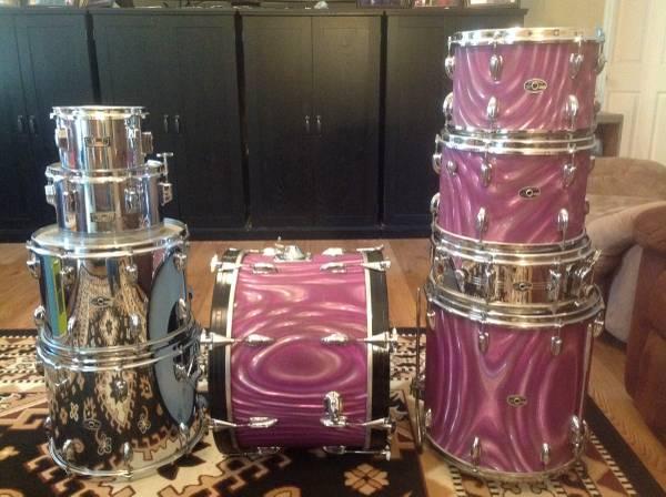 Photo Vintage slingerland lavender satin flame drums - $2,500 (Lafayette TN)
