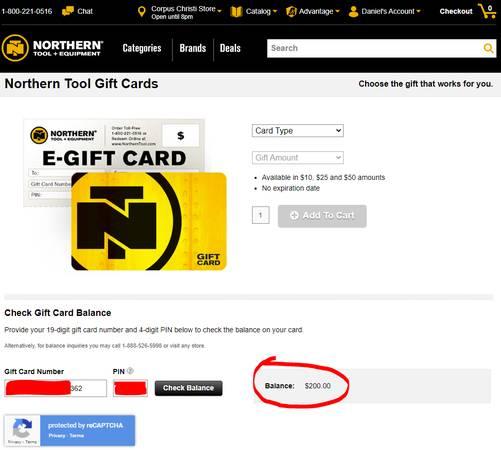 Photo Northern Tool  Equipment - $200 Gift Card - $152 (CORPUS CHRISTI)