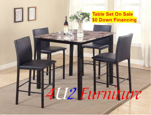 Photo Table with 4 chairs  $0 down financing - $199 (4 U 2 Furniture  3840 S. Padre Island Dr)