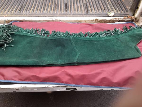 Photo Green Suede Western Chaps w Silver Concho Fringe Horse Western Wear - $35 (corvallis)