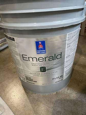Photo Sherwin Williams Exterior Latex House Paint - 5 Gallon Software Grey - $200