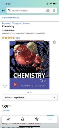 Photo Chemistry 13e paper back new McGraw Hill by Chang  Overby - $50 (North COSMonument)