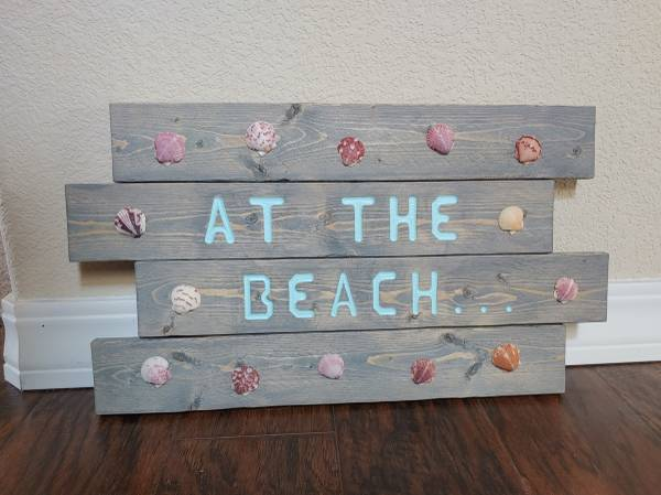 Photo New Wood quotAt the Beachquot Sign with Shells - $20 (Fountain)