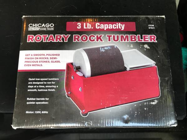 Photo Rotary Rock Tumbler LIKE NEW Chicago Electric 120V, 3 LB WGrit - $59 (Colorado Springs)
