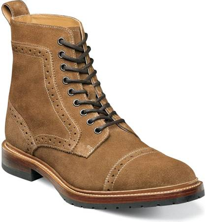 Photo new Stacy Adams Madison II Cap Toe Lace Boot tan suede best price - $145 (monument)