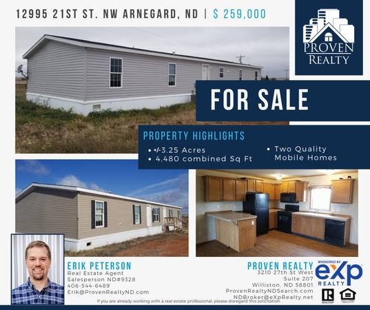 Photo COME CHECK OUT THESE 2 QUALITY MOBILE HOMES FOR SALE -4480SQ FT (ARNEGARD)