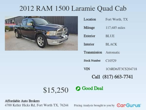 Photo 2012 Dodge Ram 1500 Laramie Quad Cab 5.7L Hemi 2WD, Nice - $15250 (Keller)