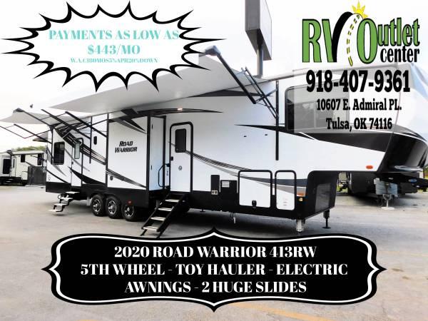 Photo 2020 ROAD WARRIOR 413RW - 5TH WHEEL - TOY HAULER - 3 AWNINGS -2 SLIDES - $65,999 (Tulsa)