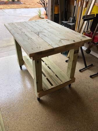 Photo 48 Rolling Outdoor Wood Cart - $245 (Terrell)