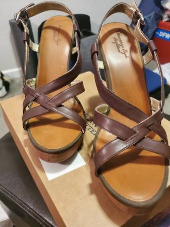 Photo American Eagle brown leather strap high heel sandals. Womens size 10 - $20 (hurst)