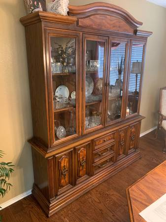 Photo Dining Room Table  Chair, Server, Cinnamon Cabinet - $800 (Allen)