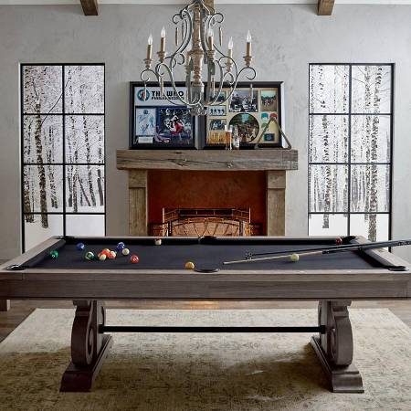 Photo Farmhouse Style Pool Table Can Convert To A Dining Table In Seconds