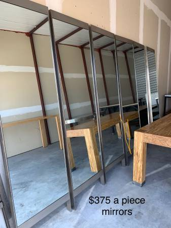 Photo High end Tables, work tables, cafe tables  7 industrial mirrors - $1
