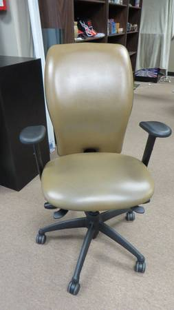 Photo Leather Desk Chair - High-Back - Mid-Brown - 6 Av - $88